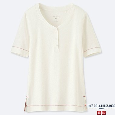 WOMEN INES LINEN BLEND HENLEY NECK SHORT SLEEVED T-SHIRT