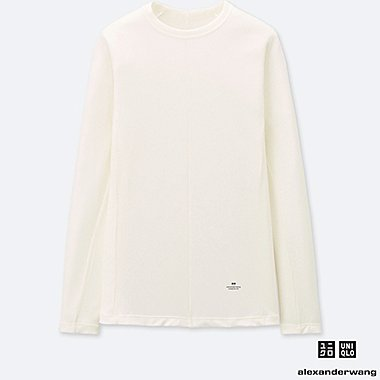 WOMEN ALEXANDER WANG HEATTECH RIBBED CREW NECK LONG SLEEVED T-SHIRT