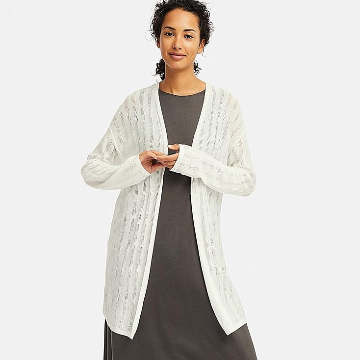 WOMEN LINEN BLENDED POINTELLE LONG CARDIGAN, OFF WHITE, large