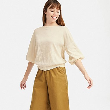 WOMEN CREPE GATHERED HALF-SLEEVE T-SHIRT, OFF WHITE, medium