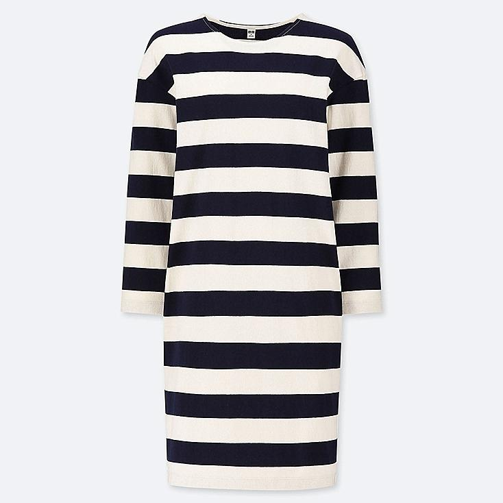 WOMEN WIDE STRIPED LONG-SLEEVE DRESS, OFF WHITE, large