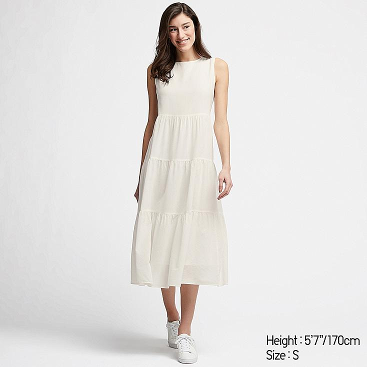 WOMEN COTTON LONG SLEEVELESS DRESS, OFF WHITE, large