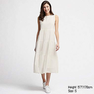 WOMEN COTTON LONG SLEEVELESS DRESS, OFF WHITE, medium