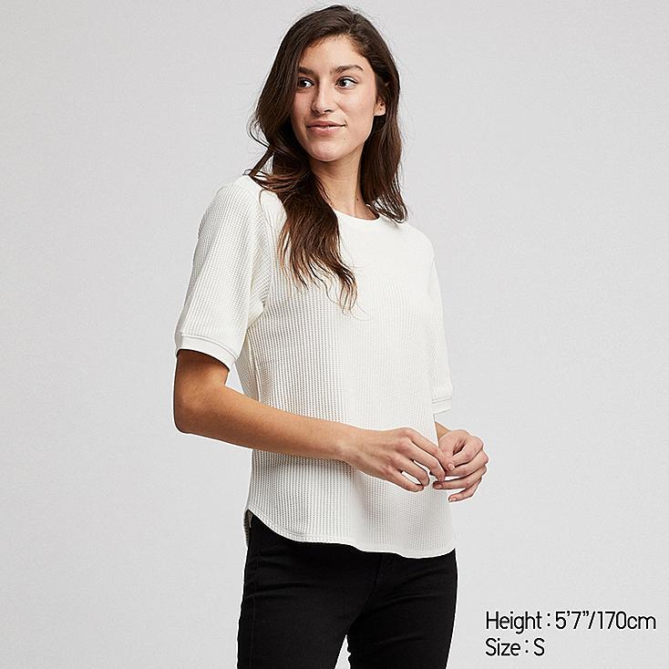 WOMEN WAFFLE CREW NECK SHORT-SLEEVE T-SHIRT, OFF WHITE, large