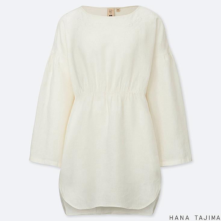women premium linen embroidery long-sleeve tunic