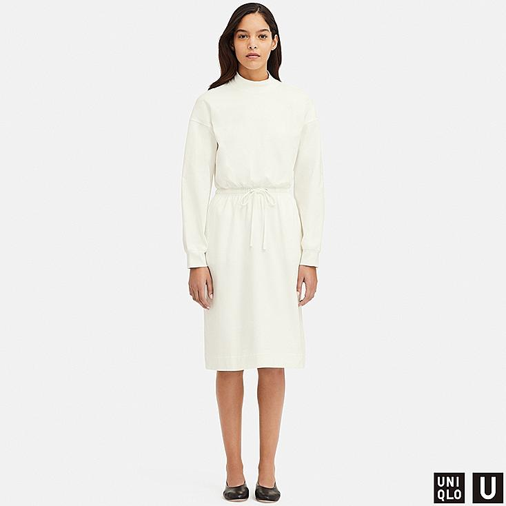 WOMEN U DRAWSTRING LONG-SLEEVE DRESS, OFF WHITE, large