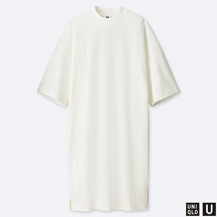 WOMEN U OVERSIZE HALF-SLEEVE T-SHIRT DRESS, OFF WHITE, large