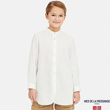 GIRLS LINEN COTTON LONG-SLEEVE TUNIC (INES DE LA FRESSANGE), OFF WHITE, medium