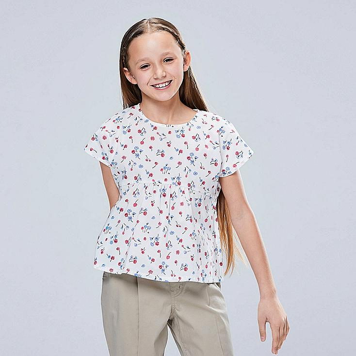 GIRLS STUDIO SANDERSON FOR UNIQLO SHORT-SLEEVE BLOUSE, OFF WHITE, large