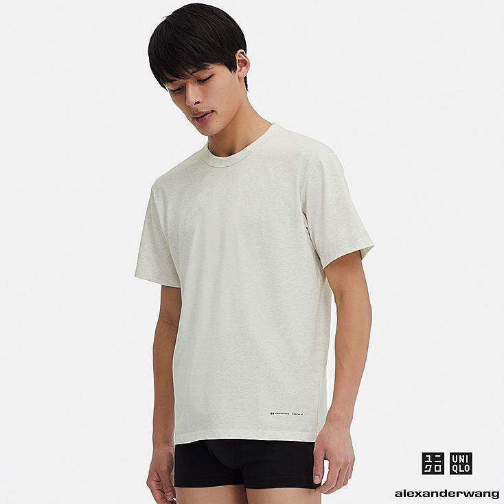 MEN AIRism SHORT-SLEEVE CREW NECK T-SHIRT (ALEXANDER WANG), OFF WHITE, large