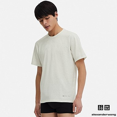 MEN AIRism SHORT-SLEEVE CREW NECK T-SHIRT (ALEXANDER WANG), OFF WHITE, medium
