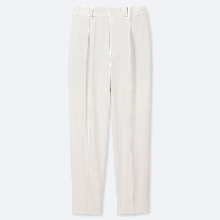 WOMEN DRAPE TAPERED ANKLE-LENGTH PANTS, OFF WHITE, large