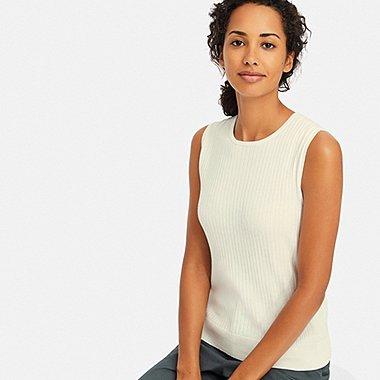 WOMEN UV CUT SUPIMA® COTTON SLEEVELESS SWEATER, OFF WHITE, medium