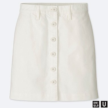 WOMEN U COTTON MINI SKIRT, OFF WHITE, medium
