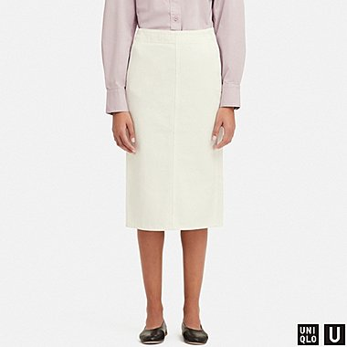 WOMEN U DENIM NARROW SKIRT, OFF WHITE, medium