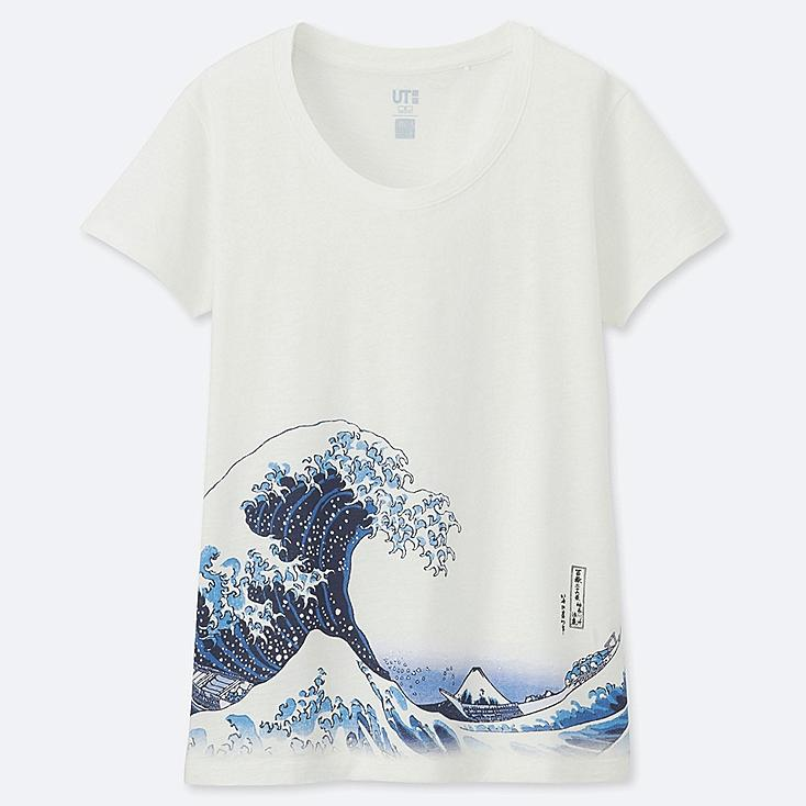 WOMEN HOKUSAI BLUE SHORT-SLEEVE GRAPHIC T-SHIRT, OFF WHITE, large
