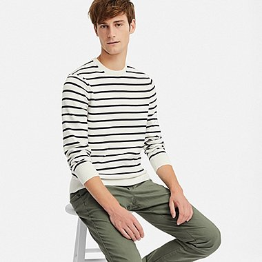 MEN SUPIMA® COTTON STRIPED CREW NECK SWEATER, OFF WHITE, medium