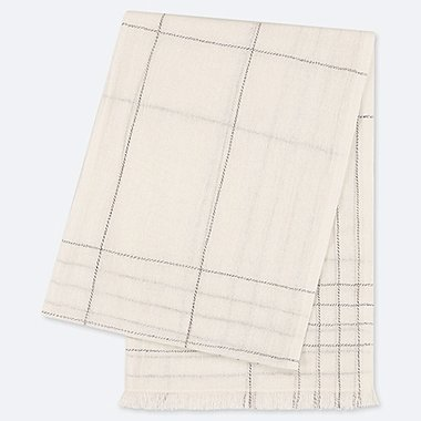 COTTON CHECKED LINEN STOLE, OFF WHITE, medium
