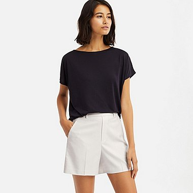 WOMEN SMART CHECKED SHORTS (ONLINE EXCLUSIVE), OFF WHITE, medium