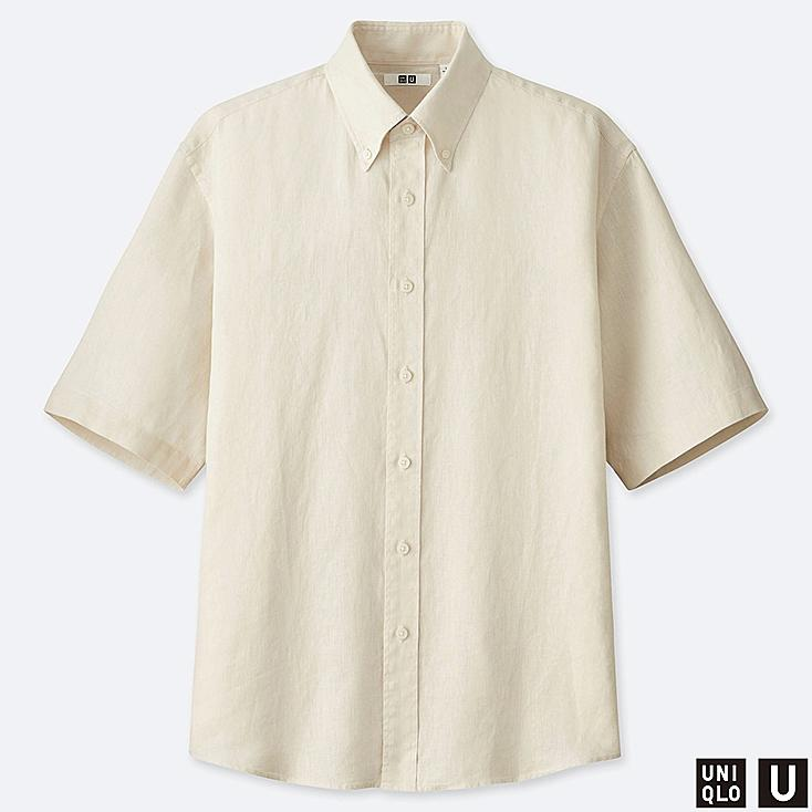 MEN U PREMIUM LINEN WIDE-FIT SHORT-SLEEVE SHIRT, OFF WHITE, large