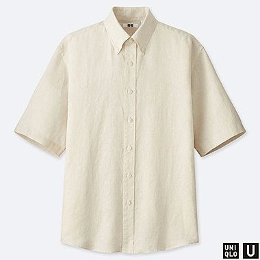 68473696b0d MEN UNIQLO U PREMIUM LINEN WIDE FIT SHORT SLEEVED SHIRT