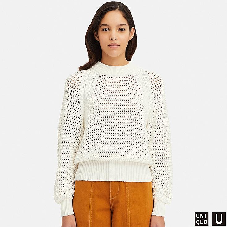 WOMEN U MESH OVERSIZED SWEATER, OFF WHITE, large