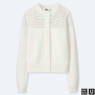 WOMEN U MESH CREW NECK CARDIGAN, OFF WHITE, medium