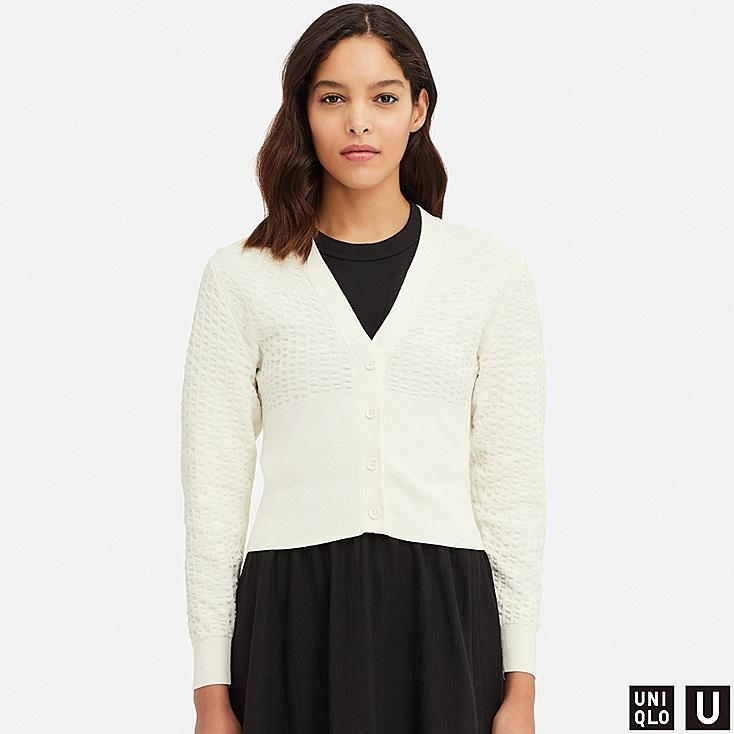 WOMEN U COTTON BALLOON SLEEVE CARDIGAN, OFF WHITE, large