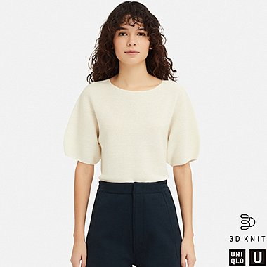 WOMEN U BALLOON HALF-SLEEVE SWEATER, OFF WHITE, medium