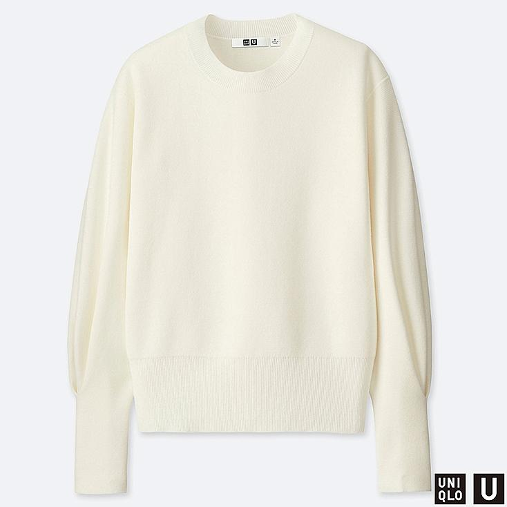 WOMEN U MILANO RIBBED RELAXED CREW NECK SWEATER, OFF WHITE, large