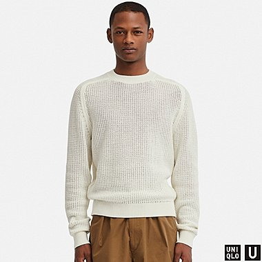 MEN U COTTON CREW NECK LONG-SLEEVE SWEATER, OFF WHITE, medium