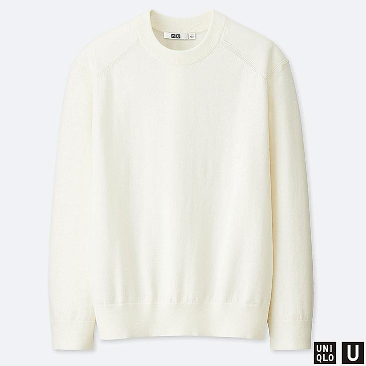 MEN U COTTON CASHMERE CREW NECK LONG-SLEEVE SWEATER, OFF WHITE, large