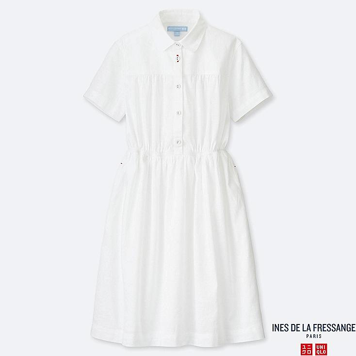 GIRLS LINEN COTTON TUCK SHORT-SLEEVE DRESS (INES DE LA FRESSANGE), OFF WHITE, large