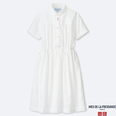 GIRLS LINEN COTTON TUCK SHORT-SLEEVE DRESS (INES DE LA FRESSANGE), OFF WHITE, medium
