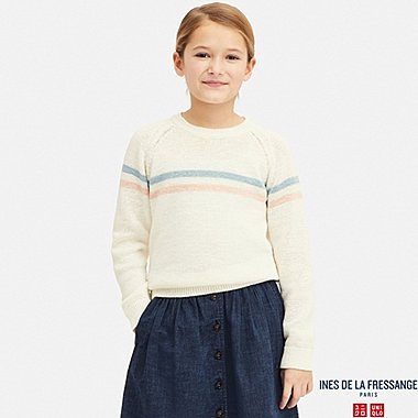 KIDS LINE CREW NECK LONG-SLEEVE SWEATER (INES DE LA FRESSANGE), OFF WHITE, medium