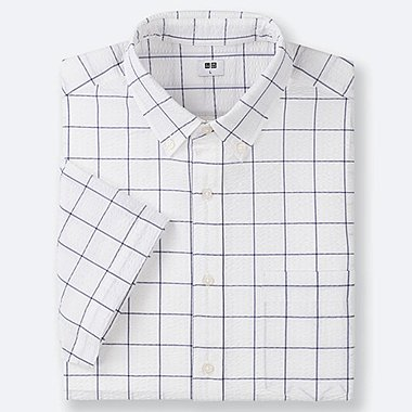 MEN DRY SEERSUCKER CHECKED SHORT-SLEEVE SHIRT, OFF WHITE, medium