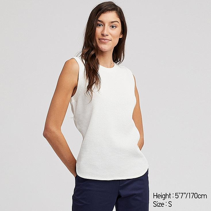 WOMEN WAFFLE SLEEVELESS T-SHIRT, OFF WHITE, large