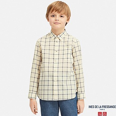 KIDS INES COTTON LAWN CHECKED LONG SLEEVED SHIRT
