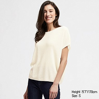 WOMEN LACY BOAT NECK SHORT-SLEEVE SWEATER, OFF WHITE, medium