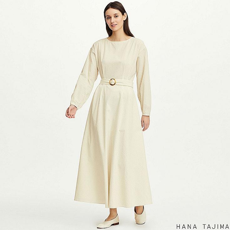women tuck striped long-sleeve long dress