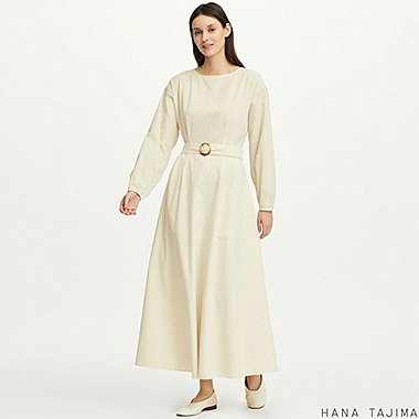 WOMEN TUCK STRIPED LONG-SLEEVE LONG DRESS (HANA TAJIMA), OFF WHITE, medium