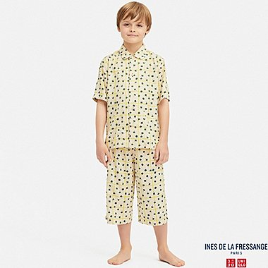 KIDS INES RAYON LEAF CHECK PRINT SHORT SLEEVED PYJAMAS