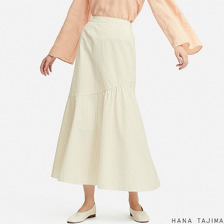 women seersucker flare long skirt
