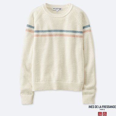 WOMEN LINE CREW NECK SWEATER (INES DE LA FRESSANGE), OFF WHITE, medium
