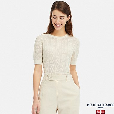 WOMEN POINTELLE CREW NECK SHORT-SLEEVE SWEATER (INES DE LA FRESSANGE), OFF WHITE, medium