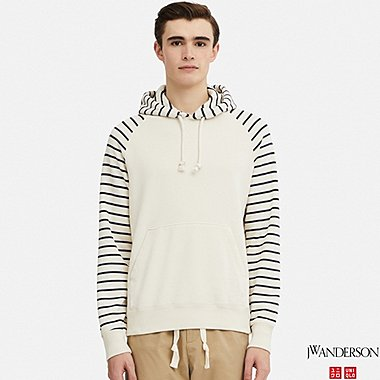MEN SWEAT LONG-SLEEVE PULLOVER HOODIE (JW Anderson), OFF WHITE, medium