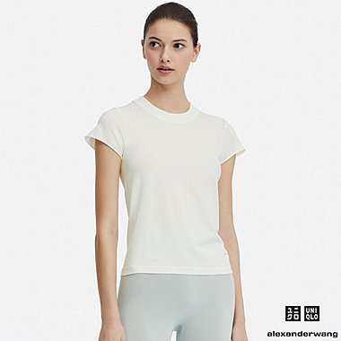 WOMEN AIRism SEAMLESS SHORT-SLEEVE T-SHIRT  (ALEXANDER WANG), OFF WHITE, medium