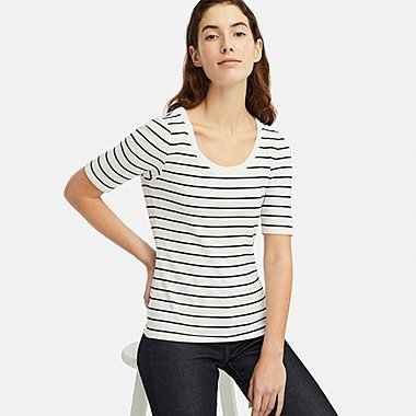 WOMEN RIBBED STRIPED U-NECK HALF-SLEEVE T-SHIRT, OFF WHITE, medium