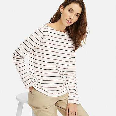 WOMEN STRIPED BOAT NECK LONG-SLEEVE T-SHIRT, OFF WHITE, medium