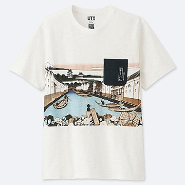 MEN HOKUSAI BLUE GRAPHIC PRINT T-SHIRT